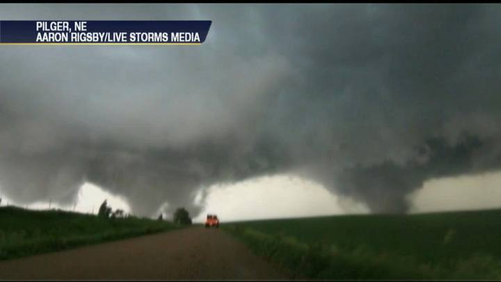 Massive Twin Tornadoes Tear Through Pilger, Nebraska